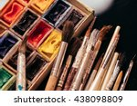 pack of watercolor paints and... | Shutterstock . vector #438098809