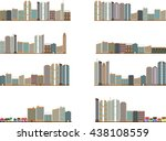 set of colored city landscapes... | Shutterstock .eps vector #438108559