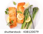 grilled salmon and asparagus | Shutterstock . vector #438120079