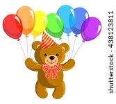 funny toy teddy bear flying on... | Shutterstock .eps vector #438123811