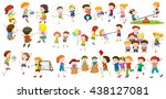 boys and girls doing different... | Shutterstock .eps vector #438127081