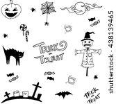 scary halloween in doodle... | Shutterstock .eps vector #438139465