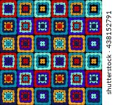 granny squares pattern and... | Shutterstock .eps vector #438152791