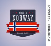 made in norway badge. vector... | Shutterstock .eps vector #438153109