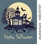happy halloween greeting card ... | Shutterstock .eps vector #438155707