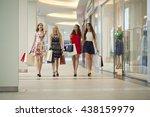 group of happy smiling women... | Shutterstock . vector #438159979