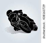 vector silhouette of biker | Shutterstock .eps vector #438163729