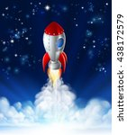 a cartoon rocket lifting off or ... | Shutterstock .eps vector #438172579
