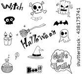 cute halloween doodle vector... | Shutterstock .eps vector #438175741