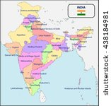 political map of india with...   Shutterstock .eps vector #438184981