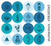 diwali. indian festival icons.... | Shutterstock . vector #438185365
