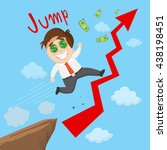 success businessman riding on... | Shutterstock .eps vector #438198451