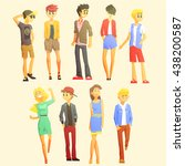 young stylishly dressed people... | Shutterstock .eps vector #438200587