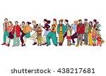 big group people standing queue ... | Shutterstock .eps vector #438217681