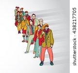 group people standing in queue... | Shutterstock .eps vector #438217705
