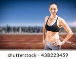 portrait of sportswoman is...   Shutterstock . vector #438223459