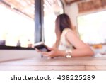 blurred image of coffee shop.   Shutterstock . vector #438225289