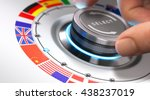 hand turning a selection knob... | Shutterstock . vector #438237019