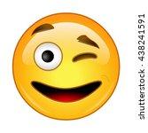 emoji as emoticon face  winking   Shutterstock .eps vector #438241591