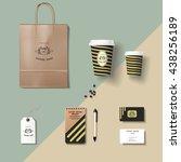 coffee shop corporate identity... | Shutterstock .eps vector #438256189