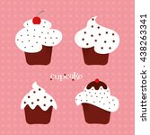 a set of cupcakes with sprinkles | Shutterstock .eps vector #438263341