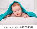 cute baby under a blanket   Shutterstock . vector #438283684