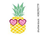 pineapple with glasses vector...   Shutterstock .eps vector #438290779