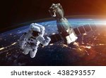 astronaut in outer space.... | Shutterstock . vector #438293557