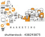 marketing team on white... | Shutterstock .eps vector #438293875