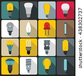 light bulb icons set  flat style | Shutterstock .eps vector #438302737
