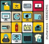 Cyber Fraud Icons Set  Flat...