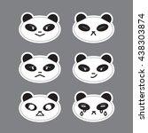 panda emotions stickers set. 6... | Shutterstock .eps vector #438303874