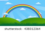 landscape with rainbow. | Shutterstock .eps vector #438312364