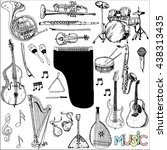 collection of music instruments.... | Shutterstock .eps vector #438313435