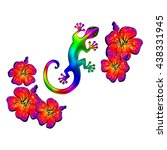 lizard with hibiscus flowers ...   Shutterstock . vector #438331945
