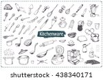hand drawn icons of kitchen...