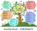 cute colorful meal kids menu... | Shutterstock .eps vector #438346651
