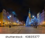 Long Street and City Hall at night city of Gdansk, Poland. - stock photo