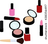 beauty products set  lipstick ... | Shutterstock .eps vector #438356497