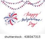 fireworks in national flag...   Shutterstock .eps vector #438367315