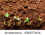 golden coins in soil with young ... | Shutterstock . vector #438377614