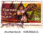 usa   circa 1970 a stamp... | Shutterstock . vector #438386611