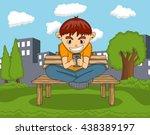 boy playing with mobile phone... | Shutterstock . vector #438389197