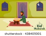 muslim reading holy book quran... | Shutterstock .eps vector #438405001