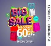 big sale discount 60  off... | Shutterstock .eps vector #438405751