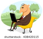 businessman with a laptop on... | Shutterstock .eps vector #438420115
