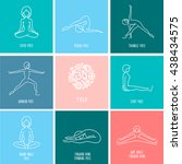 yoga pose flat line icons set ... | Shutterstock .eps vector #438434575
