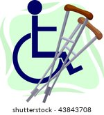 illustration of a two crutches... | Shutterstock .eps vector #43843708