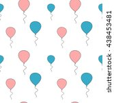 cute pink and blue balloon... | Shutterstock .eps vector #438453481
