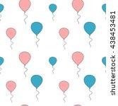 cute pink and blue balloon... | Shutterstock .eps vector #438453481